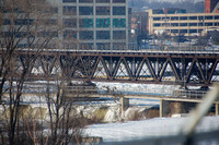 Rock River Ice Flow and Downtown Rockford, IL